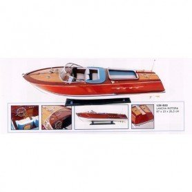 Maqueta naval lancha motora artesanal en madera noble