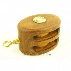 Polea náutica de madera y latón