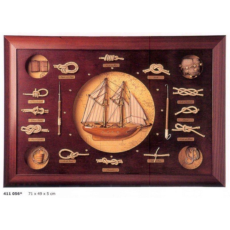 Cuadro de nudos marineros y barco