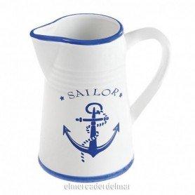 Jarra náutica en cerámica blanca