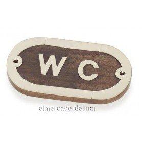 Placa náutica de madera con latón WC