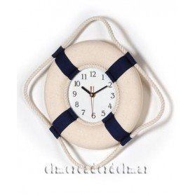 Reloj boya salvavidas decorativa en color crudo y azul