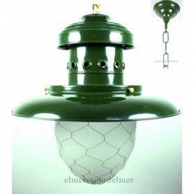 Lámpara náutica de pescador de hierro repulsado verde