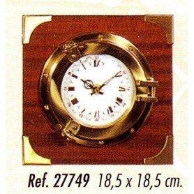 Reloj ojo de buey latón con madera