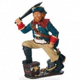 Figura náutica pirata con tesoro