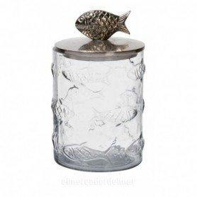 Bote marinero de peces de cristal con tapa de metal