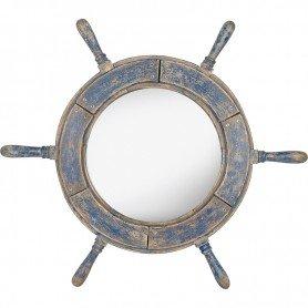 Rueda de timón náutica con espejo y aspecto envejecido de color azul