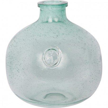 Botella azul estilo marinero con ancla grabada Decoracionmar