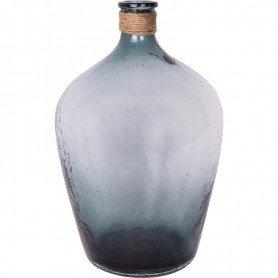 Botella translúcida azul con cabo estilo marinero decoraciónMar