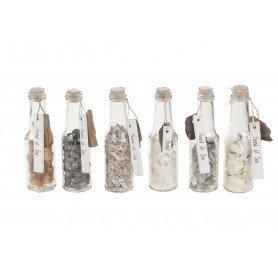 "Botella con conchas ""Found at sea"" Mercader del mar"