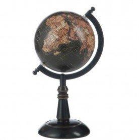 Globo del mundo sobre peana de madera negra y marrón Mercader del mar