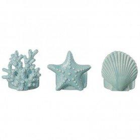 Juego de 3 portavelas marino color azul (concha, estrella y coral) Mercader del mar