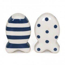 Salero y pimentero de cerámica estilo pez marino Mercader del mar