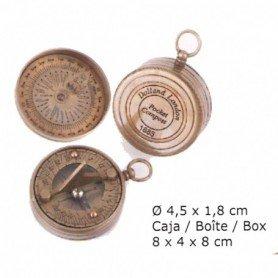 Reloj solar brújula latón de bolsillo con caja