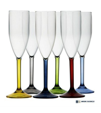 Copas de champagne con base de colores Decoración Mar