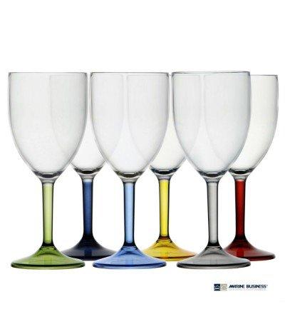 Copas de vino con base de colores Party Decoración Mar