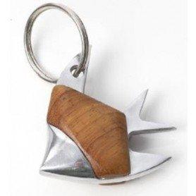 Llavero náutico pez  de metal y madera