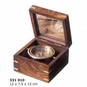 Brújula náutica en caja de madera tapa de cristal
