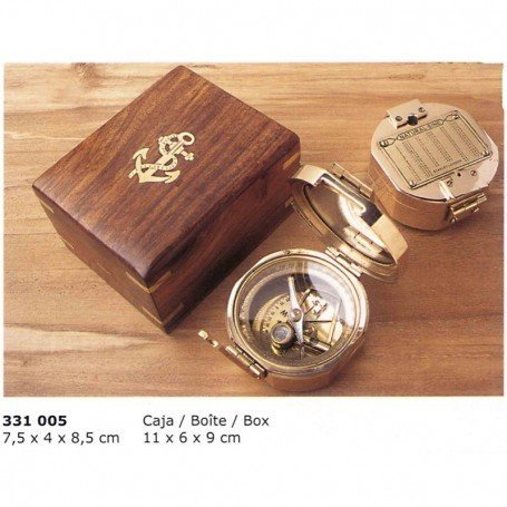Brújula brunton con caja de madera