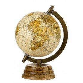Globo terrestre clásico con peana de madera en decoracionmar.com