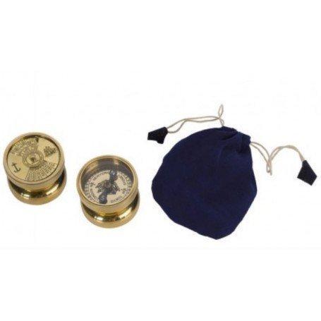 Brújula náutica con bolsa de terciopelo azul