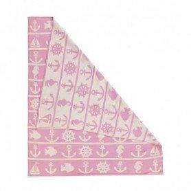 Manta marinera de algodón rosa en decoracionmar.com