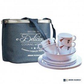 Pack de vajilla de melamina irrompible Regata (6 servicios) en decoracionmar.com para decoración náutica