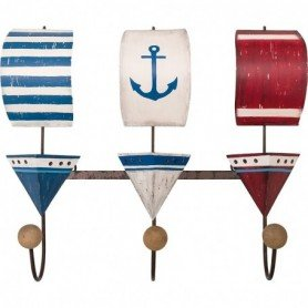 Perchero colgador veleros madera