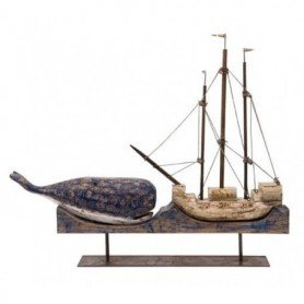 Figura decorativa ballena y galeón de madera