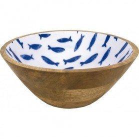 Cuenco bol náutico de madera esmaltado peces
