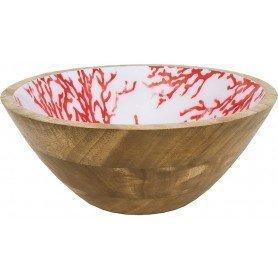 Bol de madera esmaltado con corales