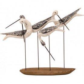 Figura pájaros decorativos en madera