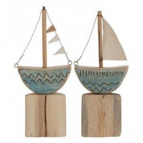 barco vela decorativo madera