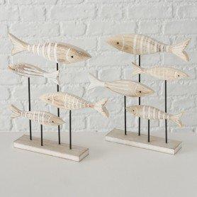 Figura de madera peces sobre peana