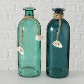 Botella marinera con colgante concha