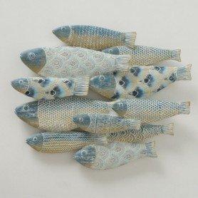 Mural marinero banco de peces en resina