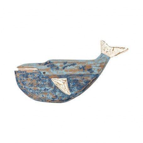 Ballena de madera para decoración náutica