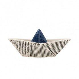 Figura barco de papel en cerámica grande