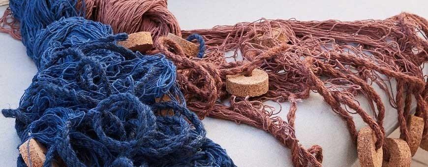 Redes de pesca decoración náutica y marina. Nasas y defensas náuticas.